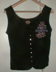 Women's Harley-Davidson Motorcycle Black Sleeveless Tank 9-Snap Shirt w/Flowers