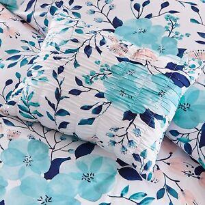 ~ ULTRA SOFT COZY CHIC BLUE AQUA TEAL PINK GREY LEAF FLOWER GIRLS COMFORTER SET