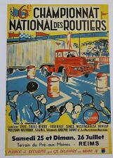AFFICHE ORIGINALE CHAMPIONNAT LES relais ROUTIERS REIMS CAMION UNIC IZOARD 1957?