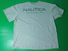 Vtg 90's Nautica T-Shirt Men's Size 2XL Gray Spell Out Made in USA Short Sleeve