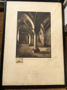 Rhys early 20th century etching interior detail, original frame, Normandy