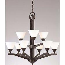 "9 Light Chandelier Light 32"" Triarch Lighting 29634 Bronze 2 Tier Opal Glass"