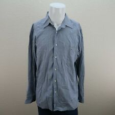 Lacoste Blue Long Sleeve Button front Striped 100% Cotton Casual Shirt Mens 42