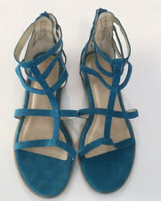 Hush Puppies Sandals Size 10 Women's Teal Faux Suede Gladiator Sandals