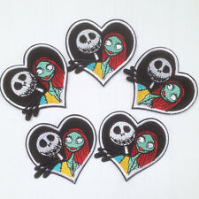 5pcs Jack skellington & Sally Heart Patches Iron On Embroidered Appliques Crafts