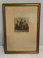 Vintage Antique Emil Singer Signed Etching Print Wien, Karlskirche