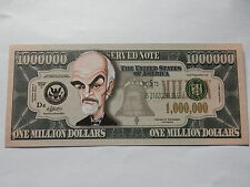 SEAN CONNERY NOVELTY $1 MILLION DOLLAR NOTE Bill $1,000,000 James Bond 007 actor
