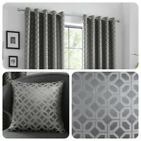 Curtina ORIENTAL SQUARES Charcoal Metallic Jacquard Cushions and Curtains