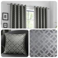 Curtina ORIENTAL SQUARES Charcoal Metallic Jacquard Cushions and Curtains