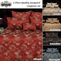 6 Pce Oriental QUEEN Comforter + 2 Std Pillowcases + 2 Eurocases + Cushion