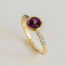 NATURAL AMETHYST RING GENUINE DIAMONDS REAL 9K 375 GOLD SIZE N BRIGHT STONE NEW
