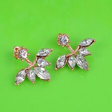 Women Gold Plated Rhinestone Crystal Maple Leaf Stud Earrings Jewelry