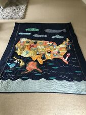 GUC Land Of Nod USA Quilt Twin Size United States Blue Crate And Barrel