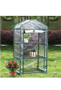 3 Tier Greenhouse Steel Frame + PVC Cover Plants Grow House Outdoor 125CM UK