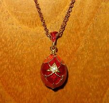 Russian FABERGE inspired ENAMEL Swarovsky Crystals Red Orange GOLD EGG pendant