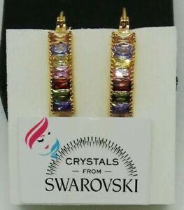 Orecchini pendenti da donna Oro Giallo Placcato 18 kt e cristalli Swarovski Mult