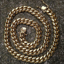 Mens 14k Gold Miami Cuban Link Chain High Quality 316 Stainless Steel