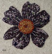 Purple Flower / Mixed Media /Mounted on Wood /Hand Cut Technique / Free Shipping