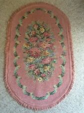 EUC!! ANTIQUE VINTAGE WOOL OVAL PINK FRENCH FLORAL & SCROLL BARKCLOTH RUG CARPET