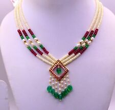 22 K YELLOW GOLD EMERALD RUBY COLOR STONE NECKLACE BRIDAL WEDDING ANNIVERSARY