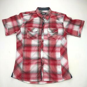 BKE Buckle Pearl Snap Shirt Mens Large Red Plaid Short Sleeve Athletic Fit