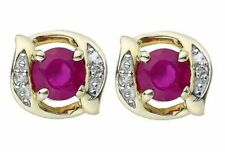 14 K White Gold Men's Cufflinks With Natural Faceted Ruby And Real Diamond
