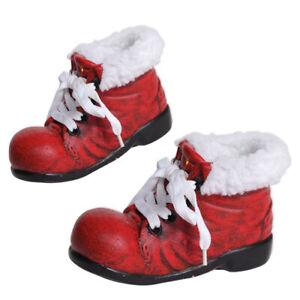 Nikolaus Stiefel aus Ton rot mit Kunstpelz Stern Weihnachten Deko rot gold weiß