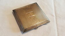 Solid sterling silver vintage Art Deco antique powder compact & mirror box case