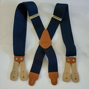 """Carhartt Utility Button Adjustable Suspenders Navy Blue with Tan Leather 2"""" W"""