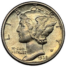 New listing 1938-P Mercury Silver Dime Au Uncertified ~