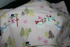 Nick and Nora PINK Flannel Queen Sheet Set snowmen Cotton pillowcases & sheets