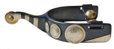 Ladies Black Steel Show Spurs with Conchos #25797