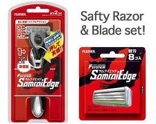 Japanese Feather Safety Razor Rasor Samurai Edge Holder Blade Set Made in JAPAN
