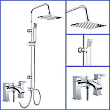 Waterfall Bath Shower Mixer Tap With 3 Way Square Shower Rigid Riser Kit Chrome