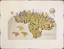 1950s Republica de Venezuela Pictorial Map Vintage Travel Poster Original