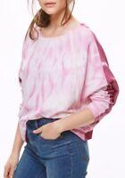 Free People Womens Long Sleeve Shirt Top Tie Dye Pink White Purple Size M, L NEW