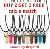 Crystals Pendant Necklace, Cord, Silver - Quartz Chakra Crystal Buy 2 get 2 free