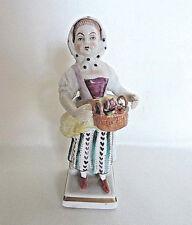 Antique Sitzendorf Porcelain Figurine Girl Holding A Basket Of Flowers  c.1918