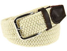 """Bermuda Mens Trousers Jeans Shorts Braided Belt 1.25"""" With Leather Detailing"""
