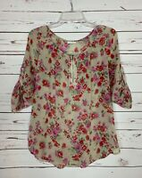 Pleione Anthropologie Women's S Small Floral Cute Spring Summer Blouse Shirt Top