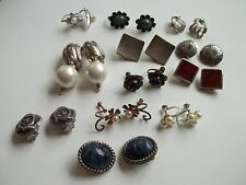 12 pair clip on earrings,sterling silver,vintage,98g weight,good pre-own cnd,