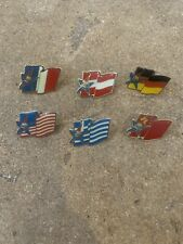 Job lot of 6 Olympic games country flags metal lapel pin badges