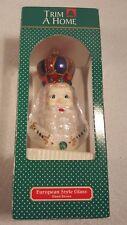 """European Style Glass Santa Head Ornament 6"""" Hand Blown by Trim a Home / Box"""