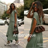 Zara New Green Maxi Long Crease Effect Asymmetric Dress Size S M L