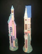 Tall Skinny Pencil Buildings Church & House Lot of 2