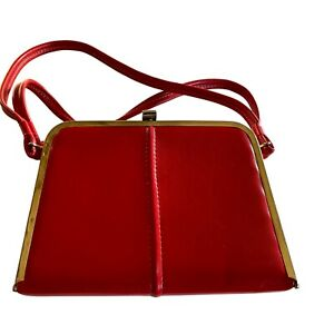 Vintage 50s-60s CHERRY RED PATENT LEATHER LOOK Hand Box Purse