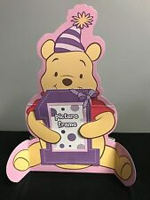 Winnie the Pooh personlized PICTURE FRAME BIRTHDAY CENTERPIECE Pink  7-9A