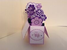 Handmade To my Wife card - flowers in a box -pop up design