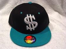 DOLLAR SIGN MONEY SNAPBACK  FLAT BILL BASEBALL CAP HAT ( BLACK & GREEN ) #2