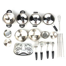 20PCS Kids Play House Toys Pots Food Dishes Cookware Fun Kitchen Utensils Tools